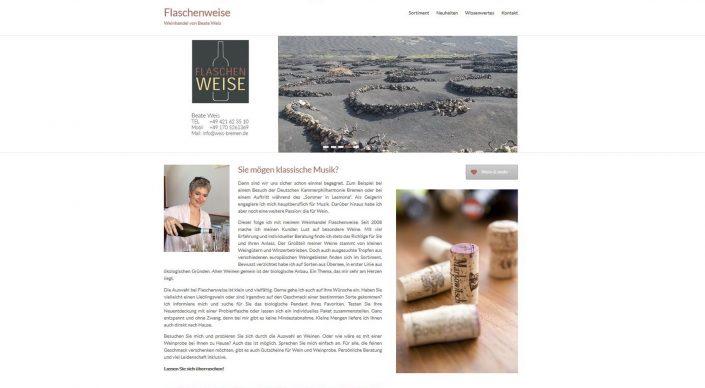 """Webseitentexte für den Weinhandel """"Flaschen Weise """"- Beate Weiss"""