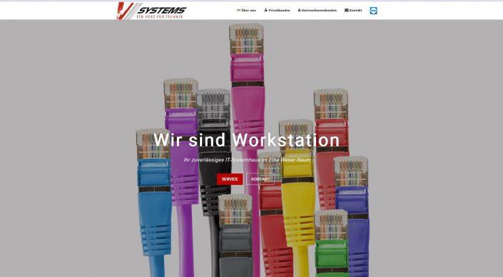 Startseite der Homepage von V Systems