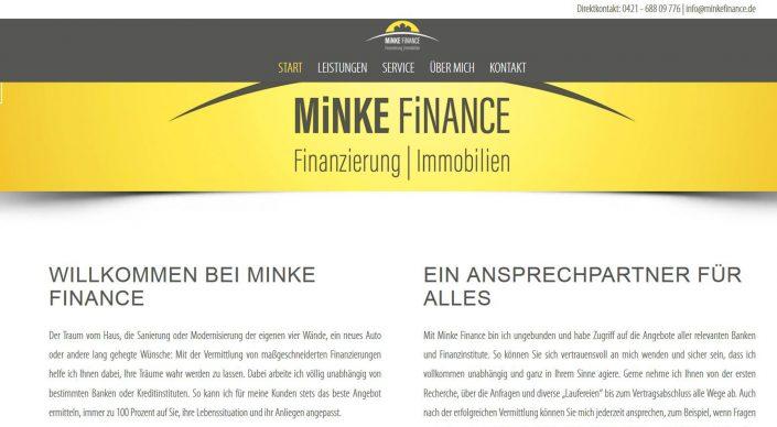 Referenz Webseitentexte: Minke finance - Finanzierung und Immobilien